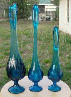 SET OF 3 VIKING Epic Vivid Blue~Teal Blue Swung Stretch Vases Art Glass   eBay