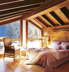 (notitle) - Home & Design Ideas.Home is Where the Heart is! Dream Rooms, Dream Bedroom, Home Bedroom, Bedroom Ideas, Master Bedroom, Interior And Exterior, Interior Design, Wooden Bedroom, A Frame Cabin