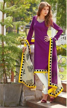 PURPLE & OFF WHITE BHAGALPURI SILK SALWAR KAMEEZ - DIF 29099