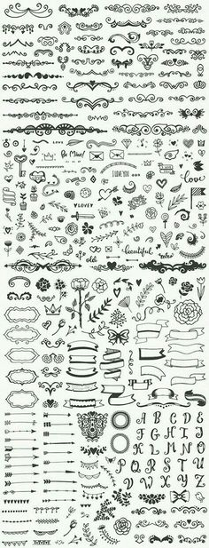 Drawing Doodle Easy Hundreds of fancy and easy bullet journal decorations and planner doodles, DIY drawing ideas, notebook sketching Icon Design, Nature Tattoos, Bullet Journal Inspiration, Doodle Art, Doodle Images, How To Draw Hands, Typography, Artsy, Letters