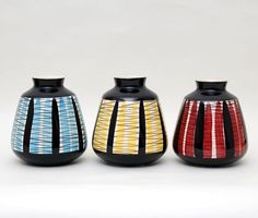 125 - Sorte, rød, blå og gule striper - Stavangerflint Kitchenware, Tableware, Stavanger, Vintage Vases, Scandinavian Design, Tea Pots, Pottery, Ceramics, Retro