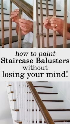 How to Paint Staircase Balusters Without Losing Your Mind Home Improvement DIY. How to makeover a staircase and paint the balusters and risers with paint and primer. Painted Banister, Painted Staircases, Black Banister, Home Improvement Projects, Home Projects, Staircase Makeover, Staircase Diy, Refinish Staircase, Spiral Staircases