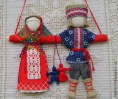 """Кукла """"Неразлучники"""" - ярко-красный,оберег,народная кукла,свадебное украшение"""