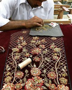 Hours and hours of craftsmanship #jeem #jeemfashion #velvet #maroon #southasia #heritage #pakistan #pakistanweddingstyle #potd #crafts #craftsmanship
