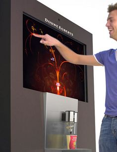 Douwe Egberts' BeMoved Vending Machine Will Make You Jump for Joy … for Coffee Coffee Making Machine, Coffee Machine, Coffee Maker, Digital Kiosk, Digital Signage, Food Vending Machines, Cocktail Machine, Coffee K Cups, Best Beans