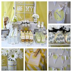 grey and yellow baby shower. I think i will like lime green instead of yellow