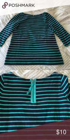 Loft stripe knit top Aqua and navy stripe top, 3/4 sleeves, boat neck, cute zipper detail on the back LOFT Tops Tees - Long Sleeve