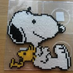 Snoopy and Woodstock perler beads by sofie_lotberg