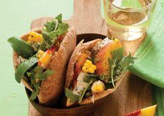 Summer Corn and Peach Pitas