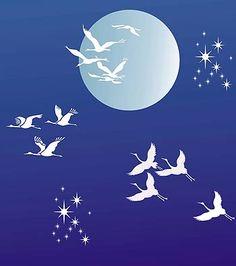 Flying Cranes Theme Pack Bird Stencil