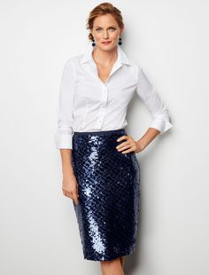 Our irresistibly impressive sequined pencil skirt is back in stunning indigo. Add something extra special to your wardrobe with this fanciful party piece. Sequin Skirt Outfit, Pencil Dress Outfit, Black Sequin Skirt, Sequin Pencil Skirt, Pencil Skirt Casual, Denim Skirt Outfits, High Waisted Pencil Skirt, Black Sequins, Dress Skirt