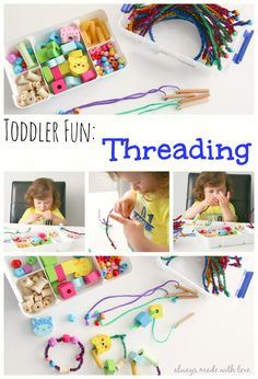 A threading box is a simple, fun 'invitation to play' for your toddler which encourages creativity, concentration, fine motor skills and hand - eye co ordination