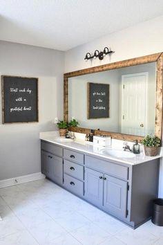 Interesting Farmhouse Master Bathroom Decor Ideas And Remodel 25 Bad Inspiration, Bathroom Inspiration, Bathroom Interior, Modern Bathroom, Dyi Bathroom, Paint Bathroom Cabinets, Small Bathrooms, Blue Bathroom Vanity, Diy Bathroom Remodel