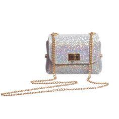 Zaccone Silver Glitter Shoulder Bag (13cm) at Childrensalon.com