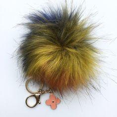 NEW Faux Fox Fur Pom Pom bag Keyring Hot Couture by YogaStudio55