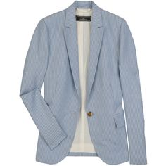 By Malene Birger Striped silk-blend blazer ($220) ❤ liked on Polyvore featuring outerwear, jackets, blazers, tops, blue striped jacket, blue jackets, stripe jacket, collar jacket and blue blazer