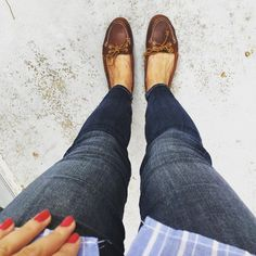 Currently favorite. #ootd #inmyjbrand #sperry #sperrys #rednails #ladyinred #gelishnails #shirt #hm #polishgirl #jbrand #fromwhereistand #sperryaudrey #audrey