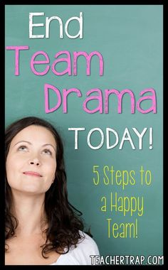 Is your team having a hard time working together? Is a teammate testing your patience? Here are 5 steps for ending the teacher drama! Team Morale, Teacher Morale, Staff Morale, Team Leader, A Team, Teacher Team Building, Team Bonding Activities, Work Activities, Professional Learning Communities