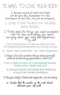 body-peace: Since its National Eating Disorder Awareness Week, give these ten things a shot! Body Love, Loving Your Body, Love Your Body Quotes, Body Image Quotes, Just In Case, Just For You, Affirmations Positives, When Youre Feeling Down, Feeling Down Quotes