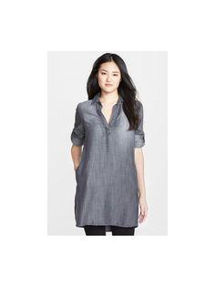 Side Stitch Chambray Tunic Size Small Grey FTC #3413