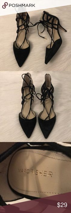 """Marc Fisher Ticket Black Lace Up Pointed Toe Heels Excellent condition Marc Fisher """"Ticket"""" style black suede lace up heels with gold hardware detail. So classic and perfect for date night, weddings, parties, events, or even work. Women's size 9. Reasonable offers always accepted. ✨ Marc Fisher Shoes Heels"""