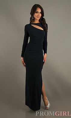Long Sleeve Form Fitting Formal Dress at PromGirl.com