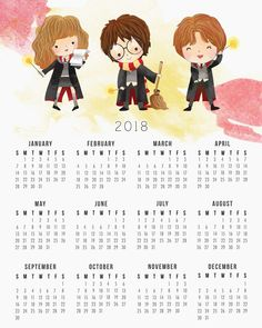 Harry Potter: Calendario 2018 para Imprimir Gratis