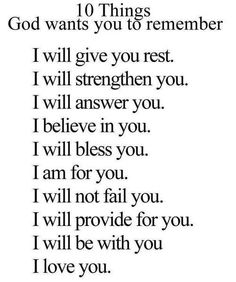 – 10 Things God wants you to remember –