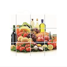 SpritechTM Fruit and Wine Kitchen Decor Oil Proof Aluminum Foil Wall Sticker Paper 45 X 76CM Backsplash * Find out more about the great product at the image link.
