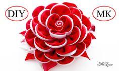 Цветок из ленты / Зажим с Цветком  Канзаши, МК / DIY Kanzashi Flower Hai...