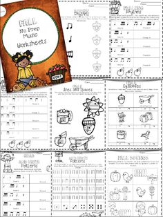 No Prep Fall Music Worksheets: Great way to practice musical concepts during fall!