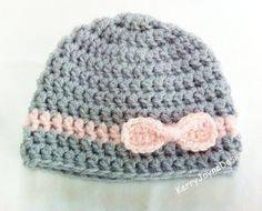 BABY GIRL HAT, Handmade by KerryJayneDesigns, pink and grey baby hat, crochet pale pink stripe and matching bow Baby shower gift, photo prop