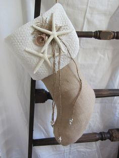 Coastal Christmas stocking... Simple and fantastic. <> (nautical, seashore, beach, ocean, theme, Xmas, decor)