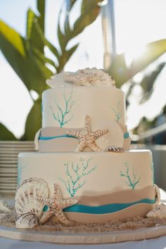 Beautiful beach themed cake