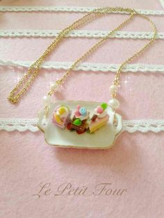 Plater Slice Cake necklace by AngelicLight100