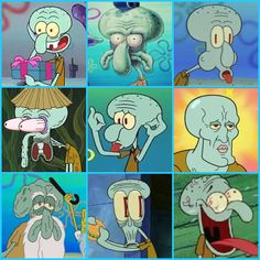 The many faces of Squidward Tentacles