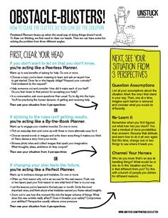 UNSTUCK - Printable and pin-able worksheet