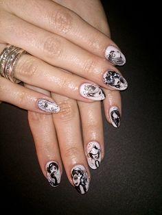 B&W Nail Art, Nails, Beauty, Finger Nails, Ongles, Nail Arts, Beauty Illustration, Nail Art Designs, Nail