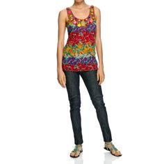 Top 60% seta e 40% cotone a fantasia floreale con scollo profondo e circolare . Maxi pietre e perline arricchiscono la scollatura. Spalline incrociate sulla schiena. Made in India