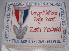 Eagle Scout Cake   ... eagle scout stands for is on this cake including a fondant replica of