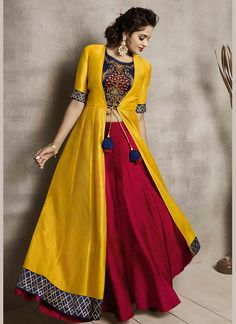 indian designer wear Delectable Embroidered Maroon and Yellow Party Wear Kurti Blouse Lehenga, Lehnga Dress, Red Lehenga, Yellow Lehenga, Lehenga Style, Lehenga Choli Designs, Long Gown Dress, The Dress, Indian Wedding Outfits