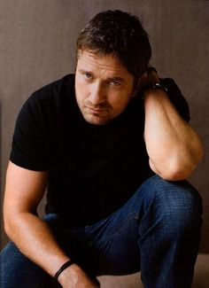Gerard Butler and those jeans & black t-shirt. (I need a jeans & black t-shirt board......)