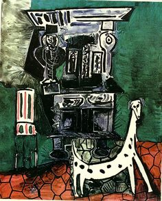 "surrealism-love: ""Buffet Henry II and armchair with dog, Pablo Picasso "" Art Picasso, Picasso Paintings, Picasso Images, Picasso Portraits, Spanish Painters, Spanish Artists, Cubist Movement, Georges Braque, Chef D Oeuvre"