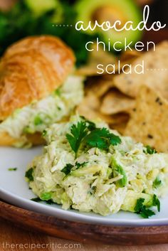 I love avocados. Especially the avocados from Costco. What is it with Costco and having the best produce? My little boy loves chicken salad sandwiches for his lunches at school. I decided to ad… Avocado Chicken Salad, Chicken Salad Recipes, Avocado Salad, Yogurt Chicken, Cilantro Chicken, Clean Eating, Healthy Eating, Healthy Food, Yummy Food