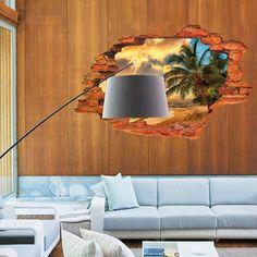 Super Deal 3D Wall Decals Sunset Seascape 3D Window View Removable Wall Sticker Home Decor Mural Decal XT