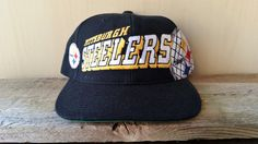 Pittsburgh STEELERS Vintage 90s Official NFL Snapback Hat Sports  Specialties  GRID  Block Script Logo Cap Pro Line Football Ballcap 1c39e3b9ce99