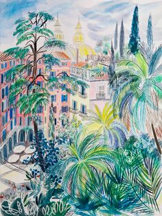 View from the Villa dei Medici, Rome - Emily Sutton Watercolor Paintings, Original Paintings, Watercolour, Museum Of Childhood, Painting Frames, Wall Art Prints, Fantasy Art, Art Drawings, Rome
