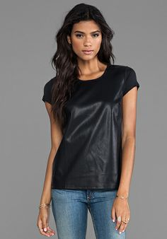 BOBI Faux Leather Front Tee in Black. Arriving soon to Mel's Kloset !!