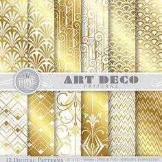 "Gold & White ART DECO Patterns 12"" x 12"" Digital Paper Pack Pattern Prints, Instant Download, Retro Backgrounds Print"