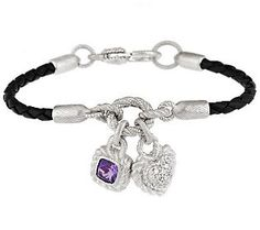 Judith Ripka Sterling Braided Bracelet with Charms